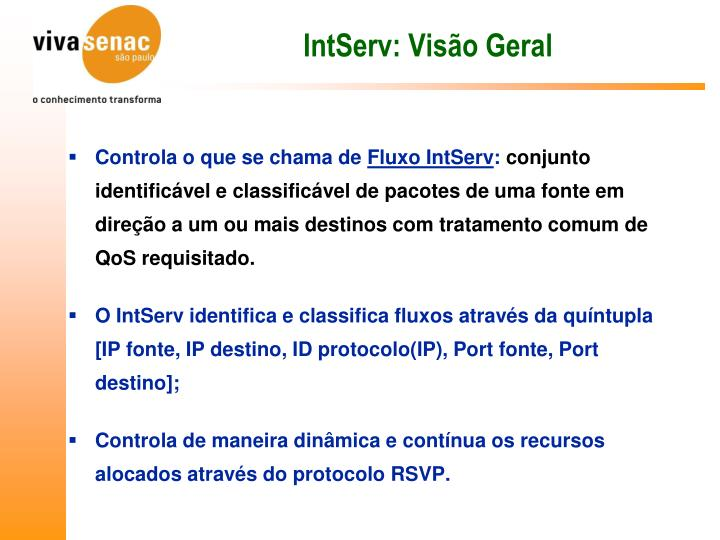 IntServ: Visão Geral