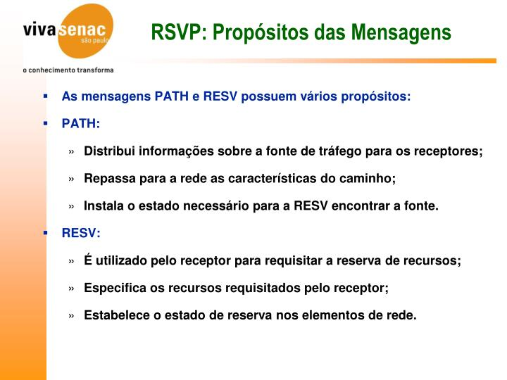 RSVP: Propósitos das Mensagens