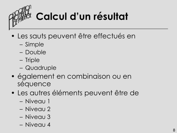 Calcul d'un résultat