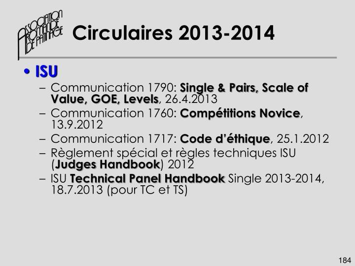 Circulaires 2013-2014
