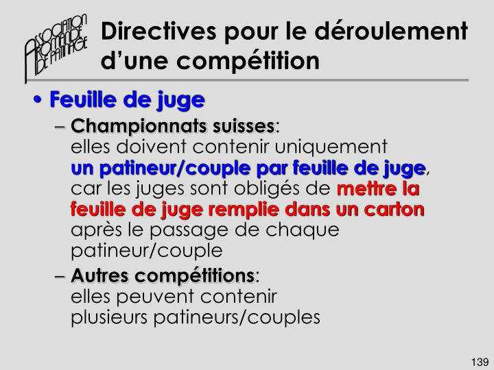 Directives pour le déroulement d'une compétition