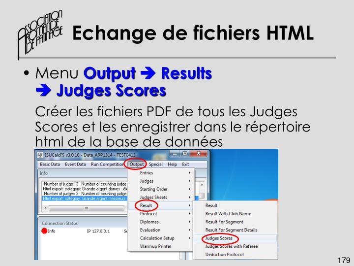 Echange de fichiers HTML