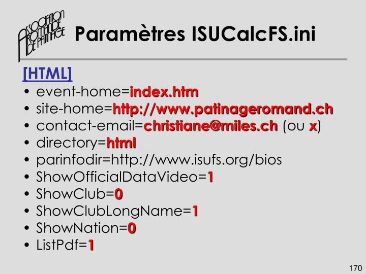 Paramètres ISUCalcFS.ini