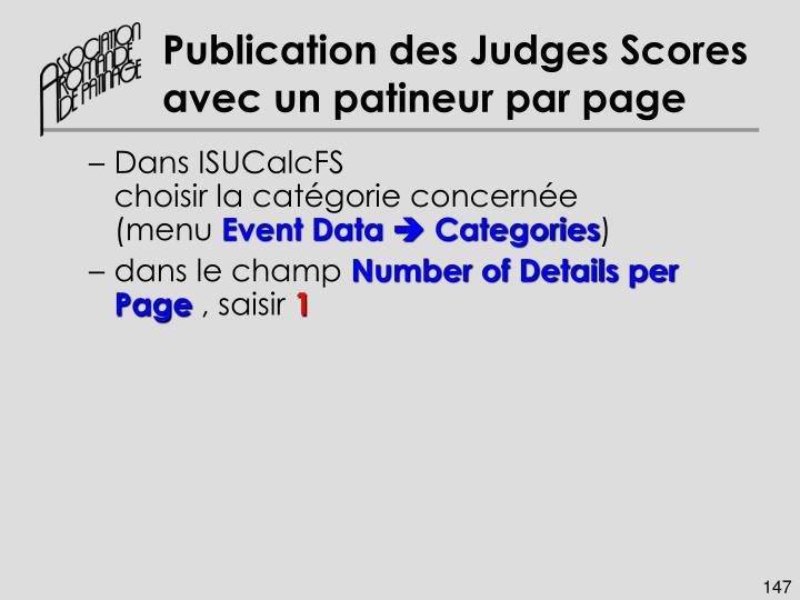 Publication des Judges Scores avec un patineur par page