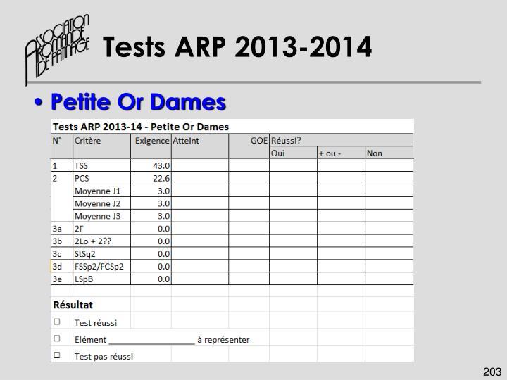 Tests ARP 2013-2014
