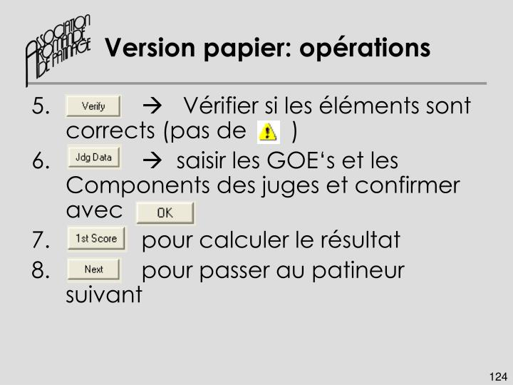 Version papier: opérations
