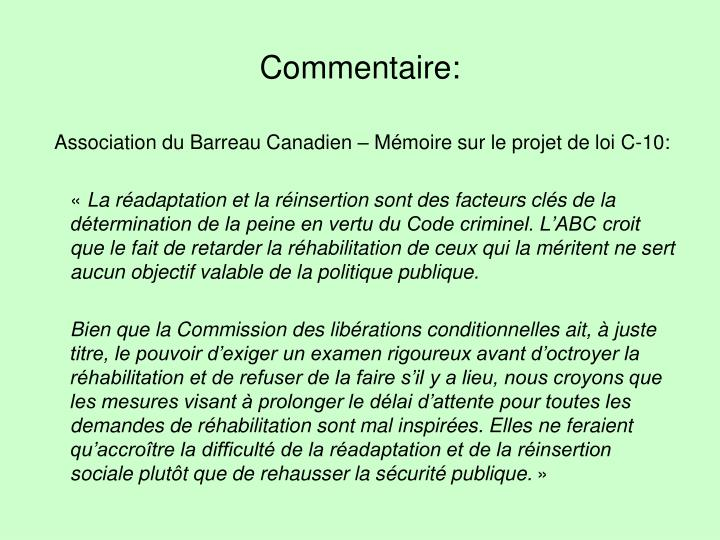 Commentaire: