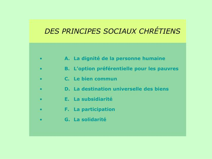 DES PRINCIPES SOCIAUX CHRÉTIENS