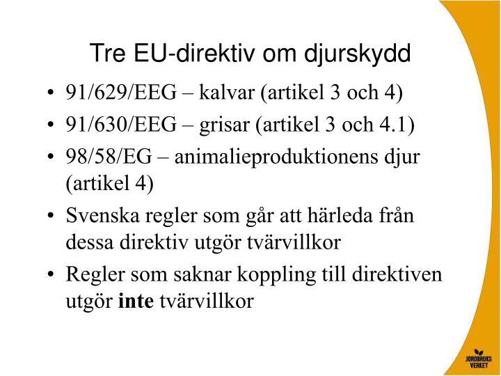 Tre EU-direktiv om djurskydd