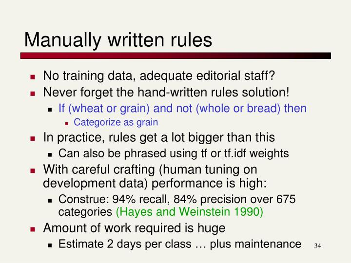 Manually written rules