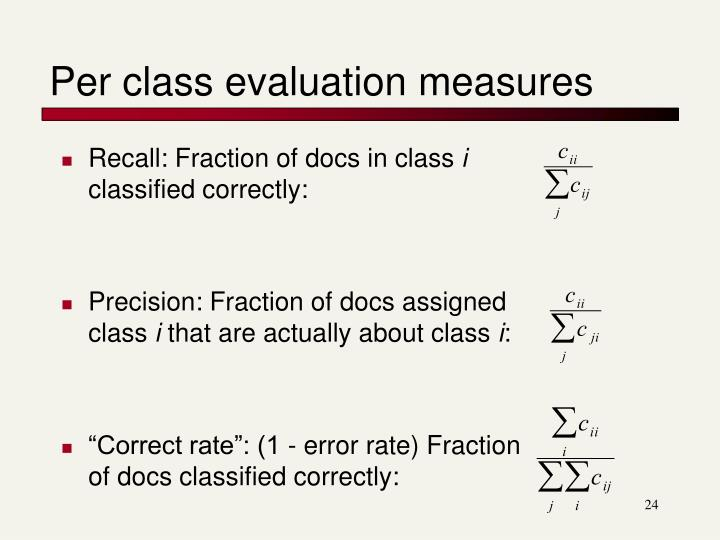 Per class evaluation measures