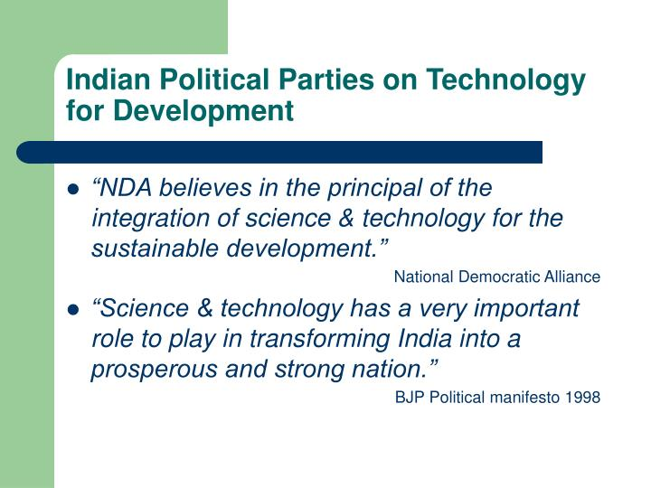 Indian Political Parties on Technology for Development