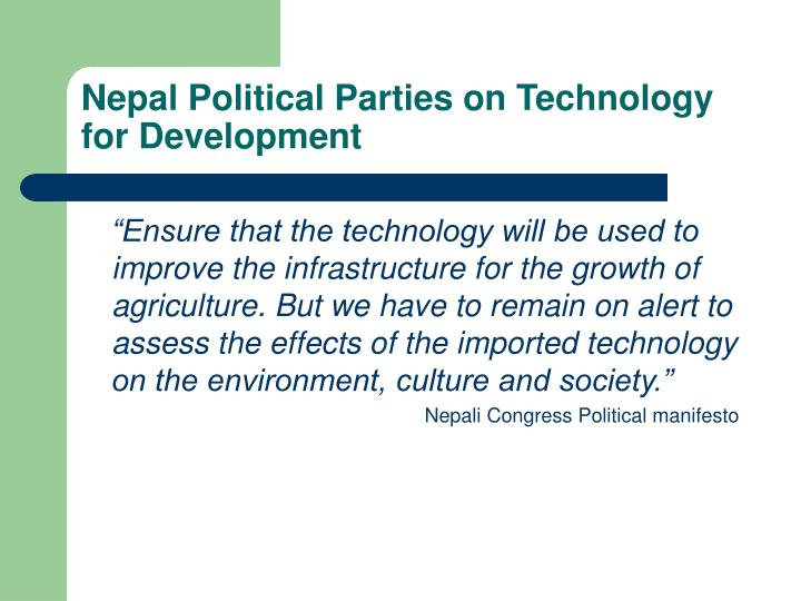 Nepal Political Parties on Technology for Development