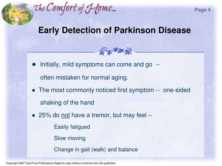 Early detection of parkinson disease
