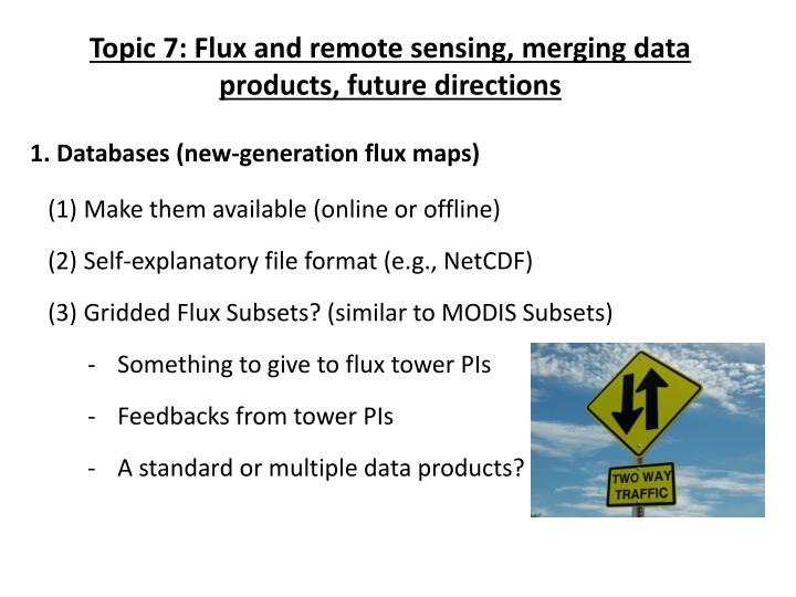 Topic 7: Flux and remote sensing, merging data products, future directions