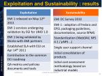 exploitation and sustainability results