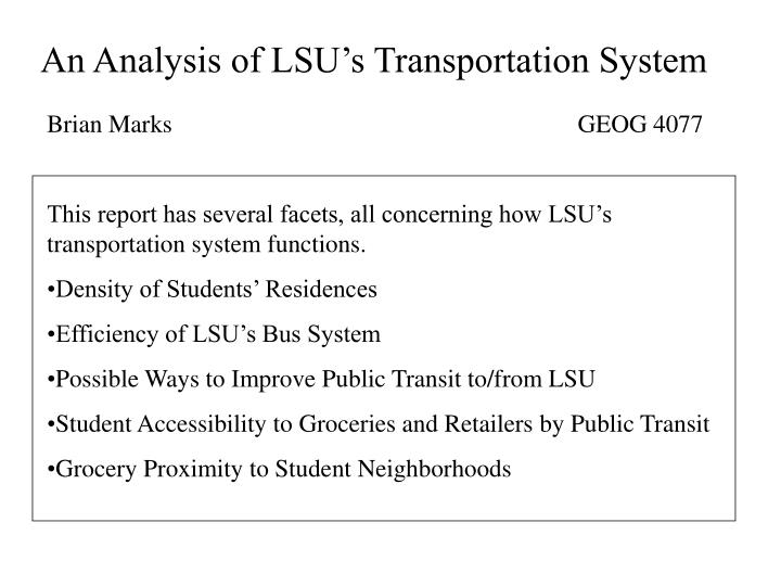 An Analysis of LSU's Transportation System
