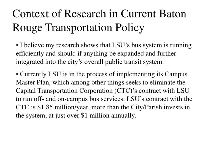 Context of Research in Current Baton Rouge Transportation Policy