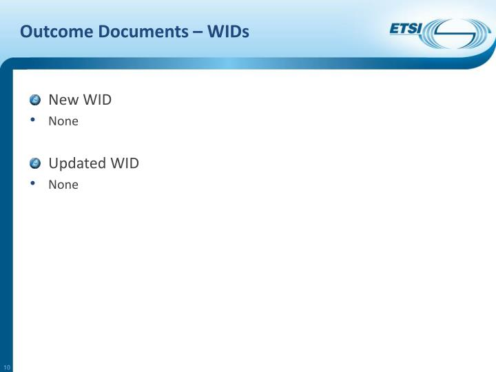 Outcome Documents – WIDs