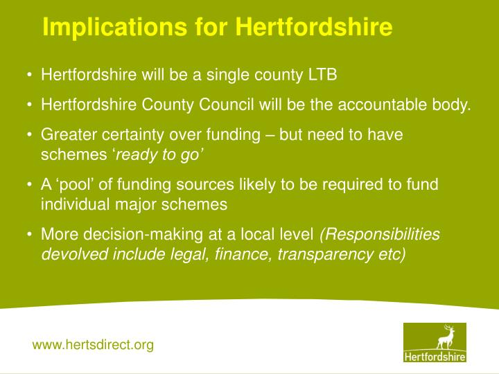 Implications for Hertfordshire