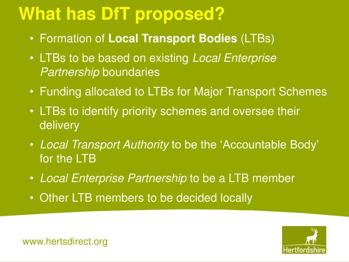What has DfT proposed?