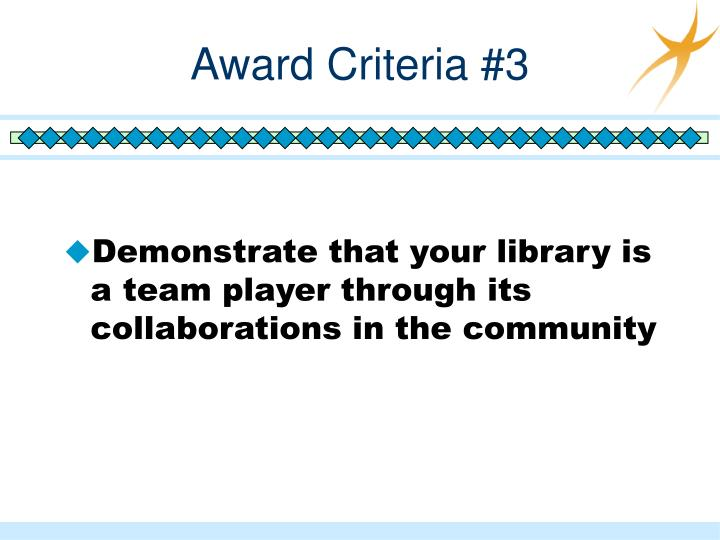 Award Criteria #3