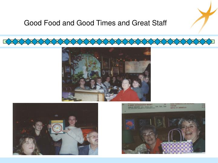 Good Food and Good Times and Great Staff