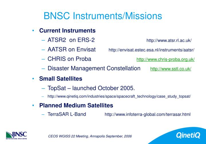 Bnsc instruments missions