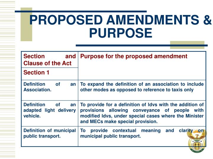 PROPOSED AMENDMENTS & PURPOSE