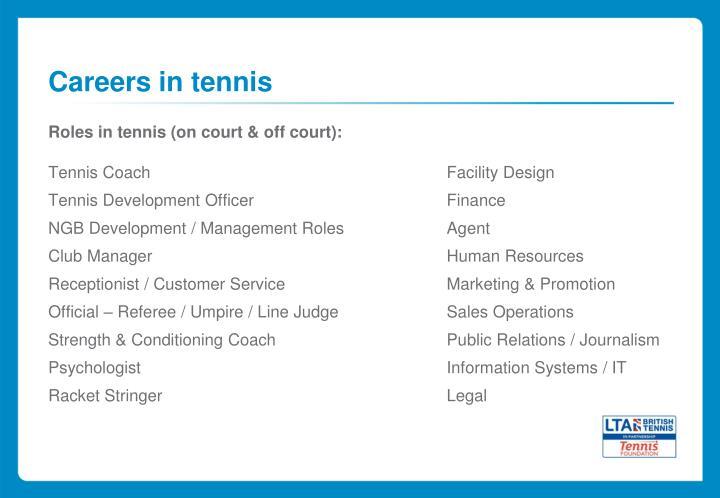 Careers in tennis