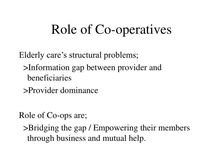 Role of Co-operatives