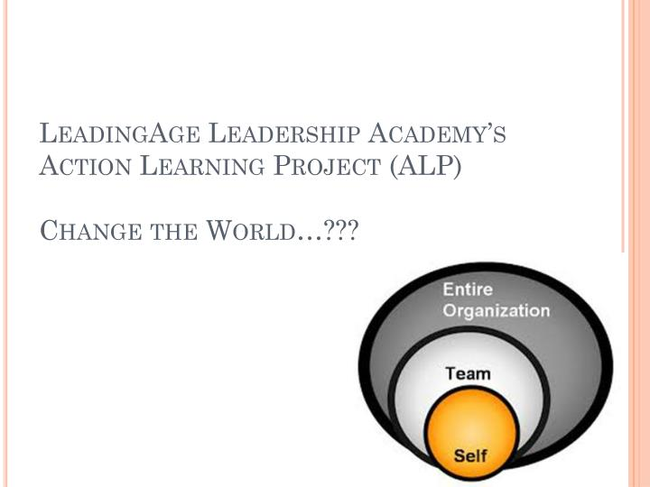 Leadingage leadership academy s action learning project alp change the world