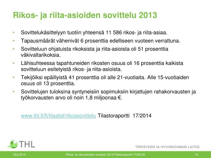 Rikos- ja riita-asioiden sovittelu 2013