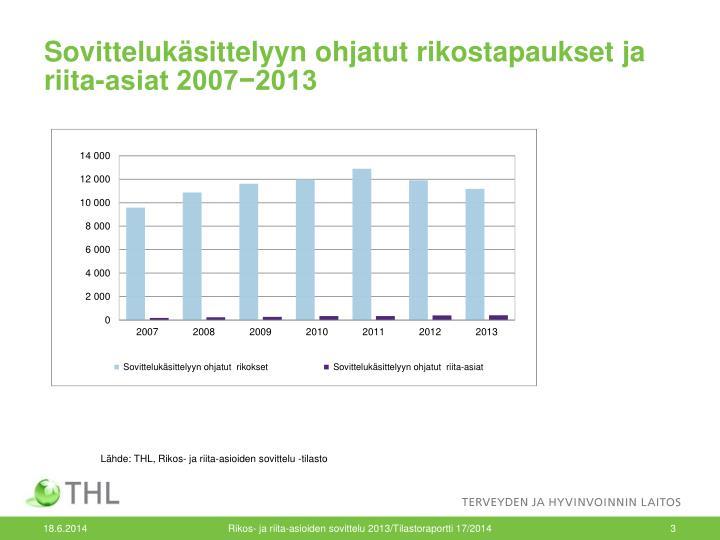 Sovittelukäsittelyyn ohjatut rikostapaukset ja riita-asiat 2007−2013