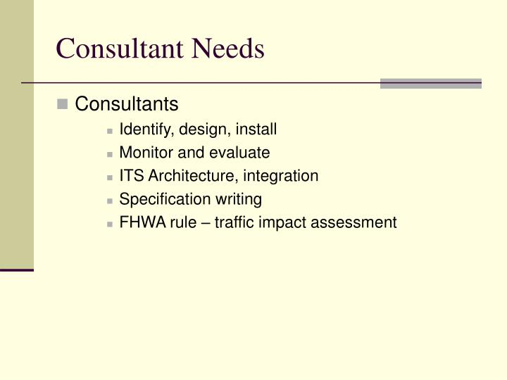 Consultant Needs
