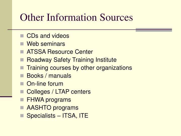 Other Information Sources