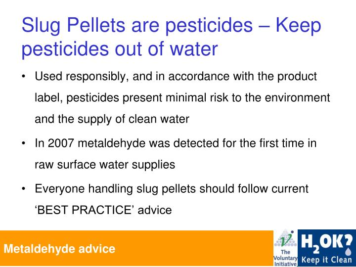 Slug pellets are pesticides keep pesticides out of water
