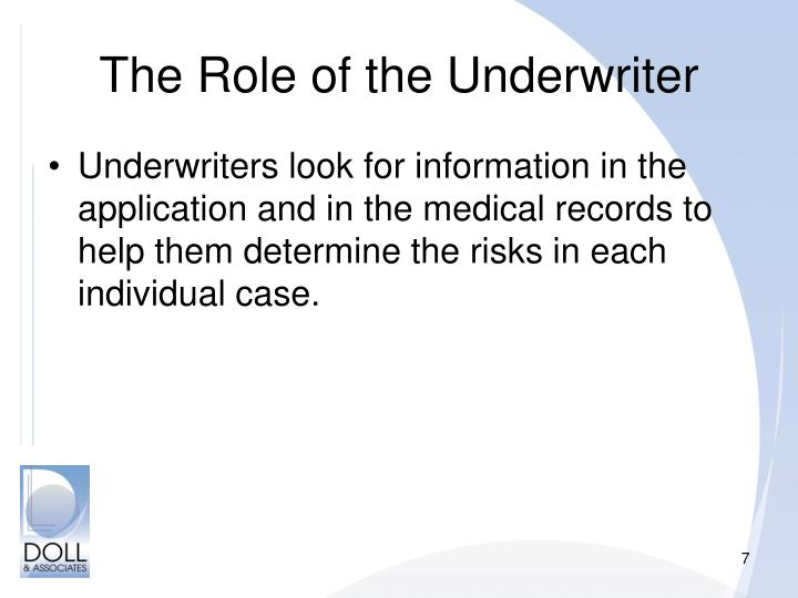 role of an underwriter
