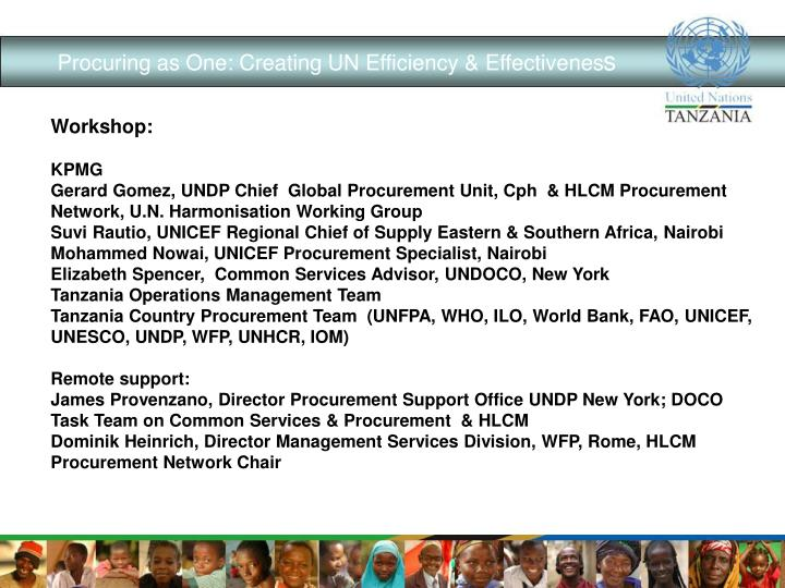 Procuring as One: Creating UN Efficiency & Effectivenes