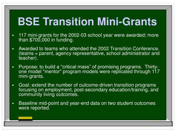 BSE Transition Mini-Grants