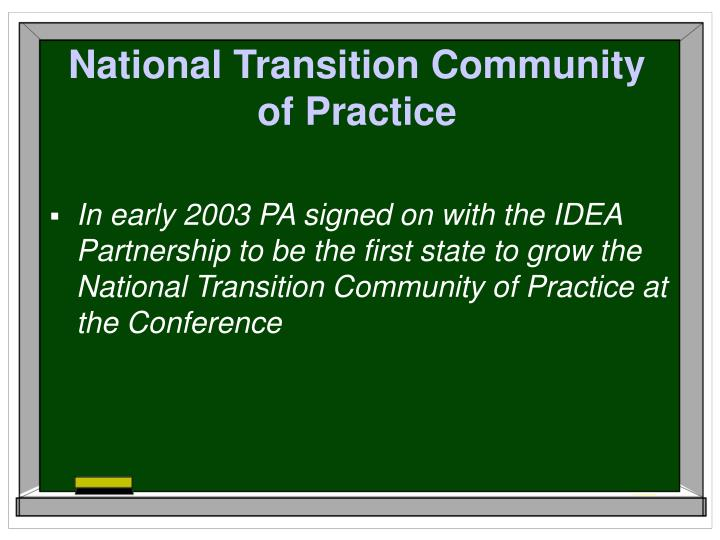National Transition Community of Practice