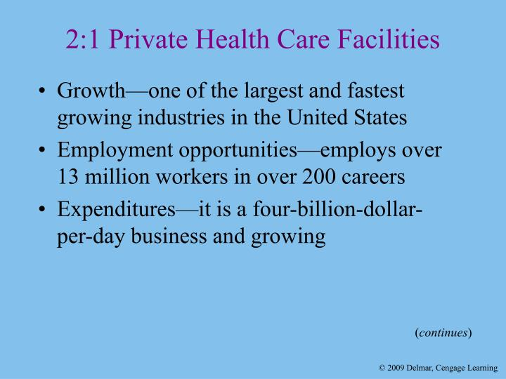 2 1 private health care facilities