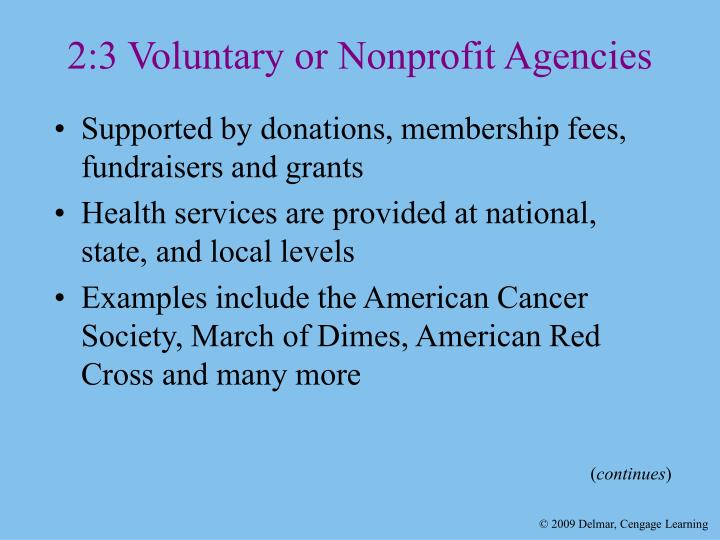 2:3 Voluntary or Nonprofit Agencies