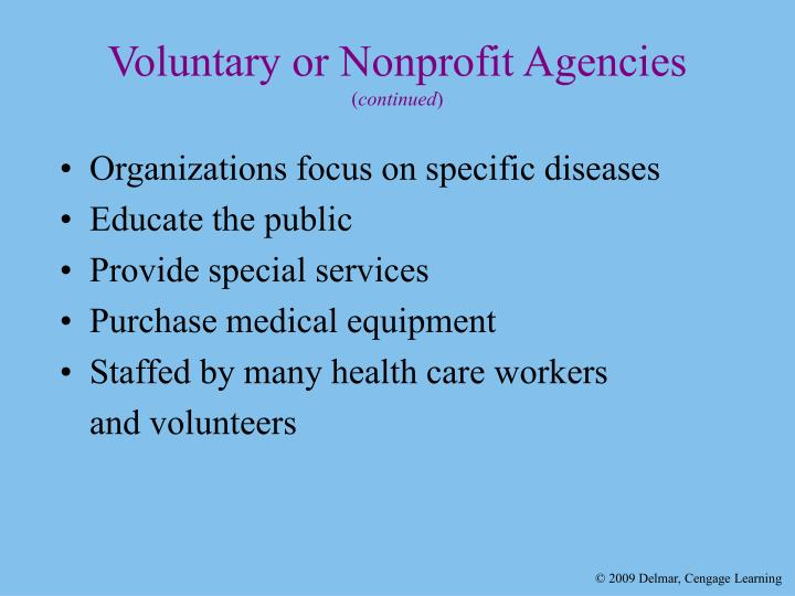 Voluntary or Nonprofit Agencies