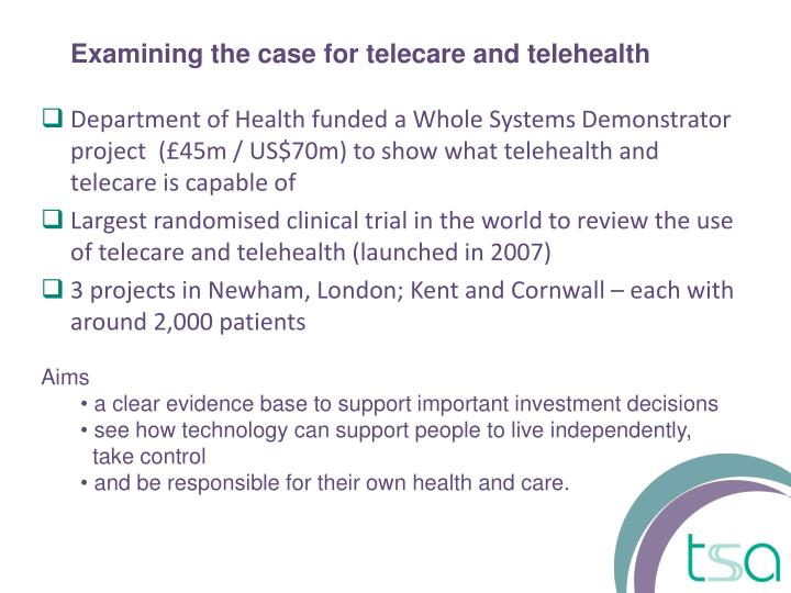 Examining the case for telecare and telehealth