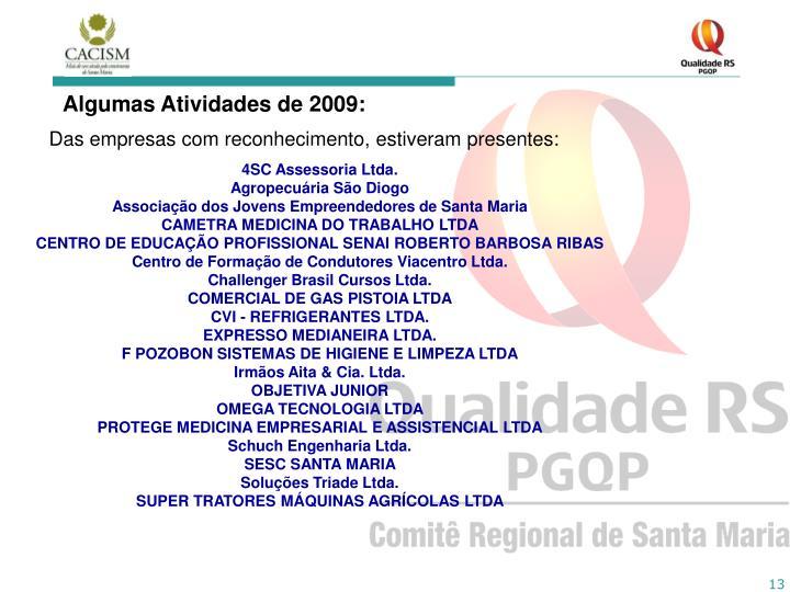 Algumas Atividades de 2009:
