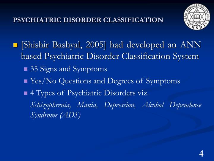 PSYCHIATRIC DISORDER CLASSIFICATION