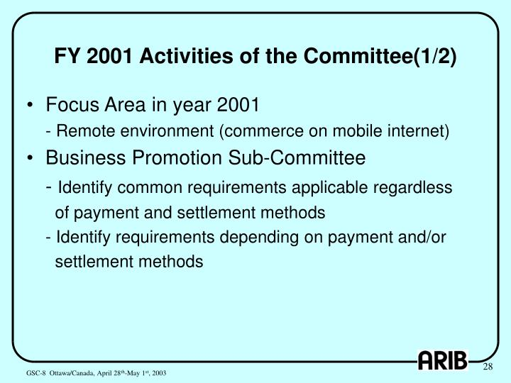 FY 2001 Activities of the Committee(1/2)