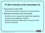fy 2001 activities of the committee 1 2