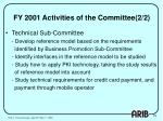 fy 2001 activities of the committee 2 2